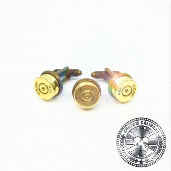 A truly incredible image of three golden cuff links with custom calibers logo