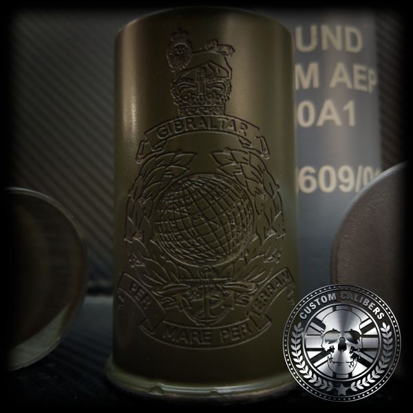 Another image of a perfect golden canister with custom calibers logo
