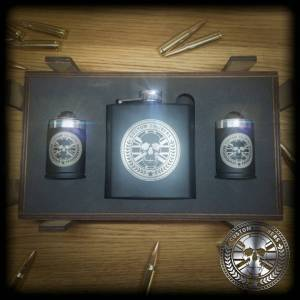 Hip flask and shot glass gift set