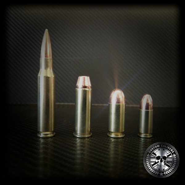 A picture of four bullets from smallest to largest with the custom calibers logo at the bottom right