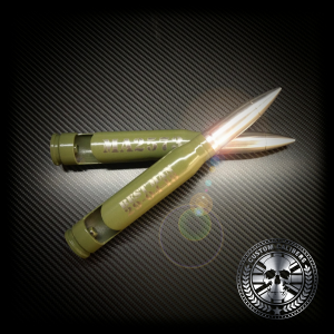 A professional image of two bullet bottle openers with the custom calibers logo at the bottom right