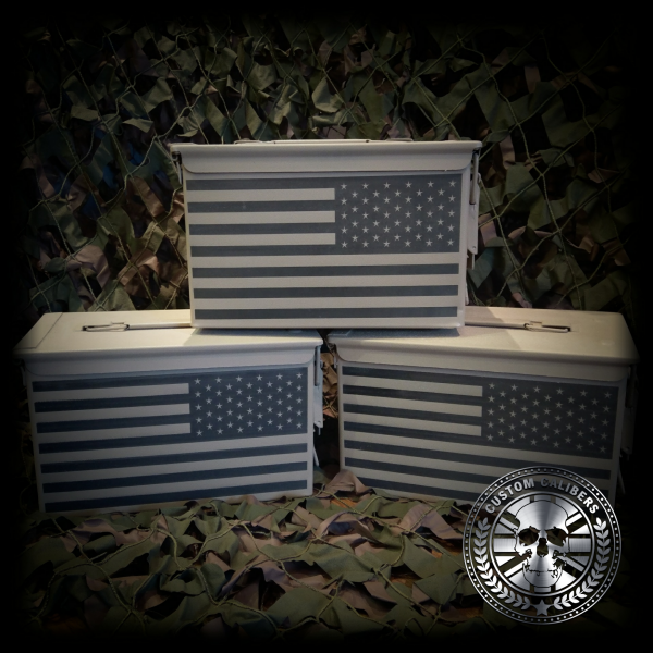 Another incredible image of three cases with american flag on them and the custom calibers logo at the bottom right