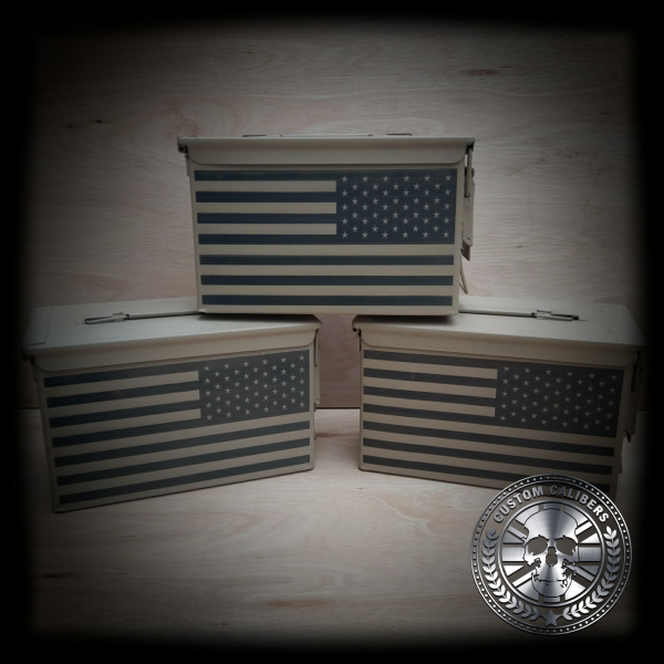 A professional photograph of three cases with american flag on them