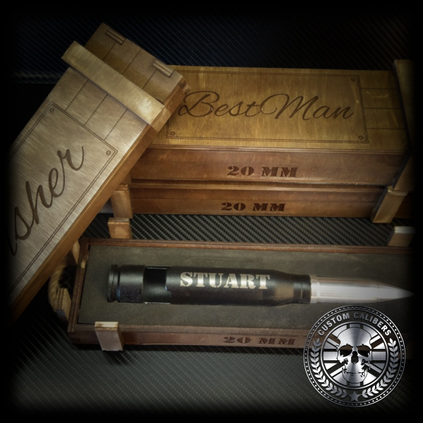 bottle opener made from a bullet engraved and in a customised gift crate