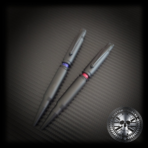 A professional image of black two pens with custom calibers logo at the bottom right