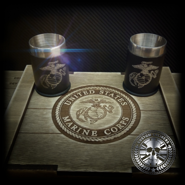A picture of two flasks with custom calibers case with custom calibers logo at the bottom right