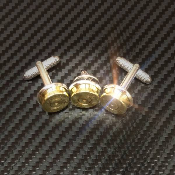Another image of three bullet cuff links created by Custom calibers
