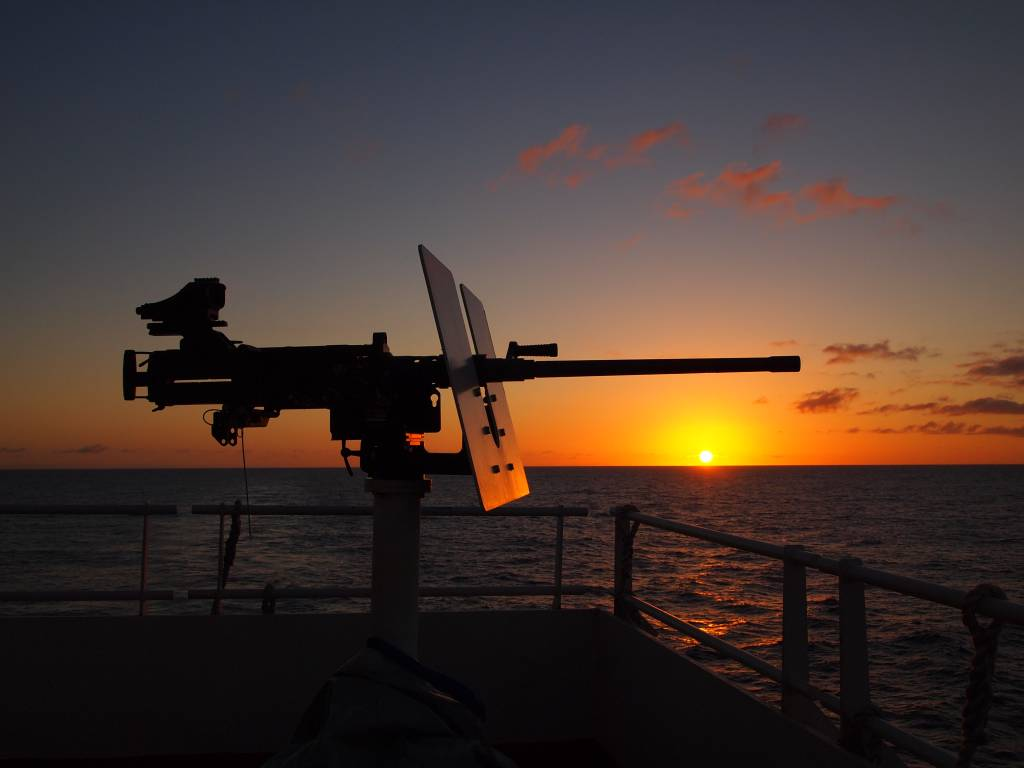 A picture of a turret on a boat