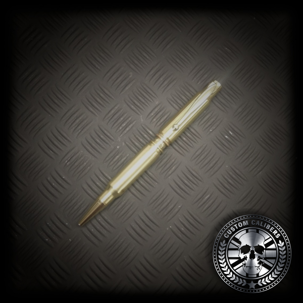 A golden pen in a black metal background