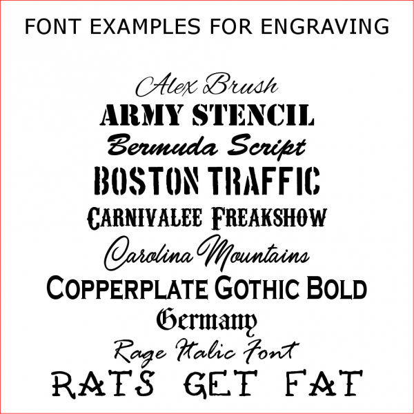 An example of fonts used by custom calibers