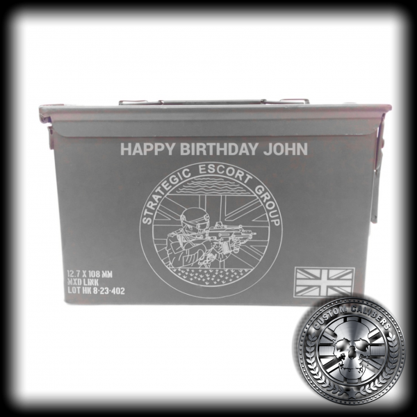 A Strategic Escort Group strongbox wishing John a happy birthday
