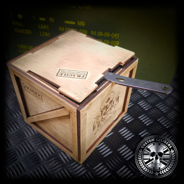 a wooden handmade gift box for a customised glass tumbler