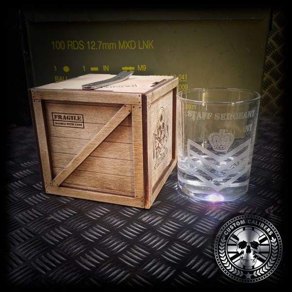 anther gret view of our custom engraved glass tumbler with a handmade wooden gift box
