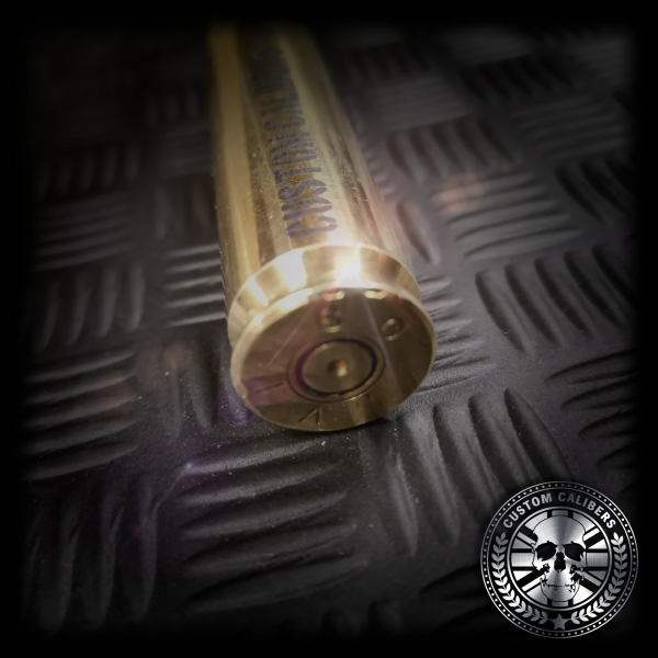 A close up shot of the .50 cal bullet lighter showing the bottom of the lighter with the bullet primer