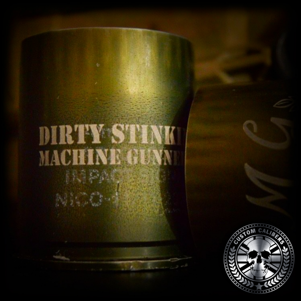a nice macro shot of one of our battle worn green 40mm GMG grenade shotglasses