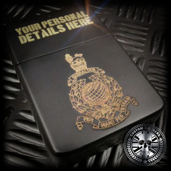 a matt black royal marines lighter