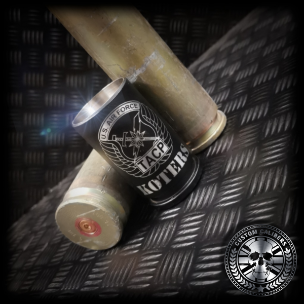 another nice shot of our matt black 30mm A10 warthog shot glass made from real fired rounds