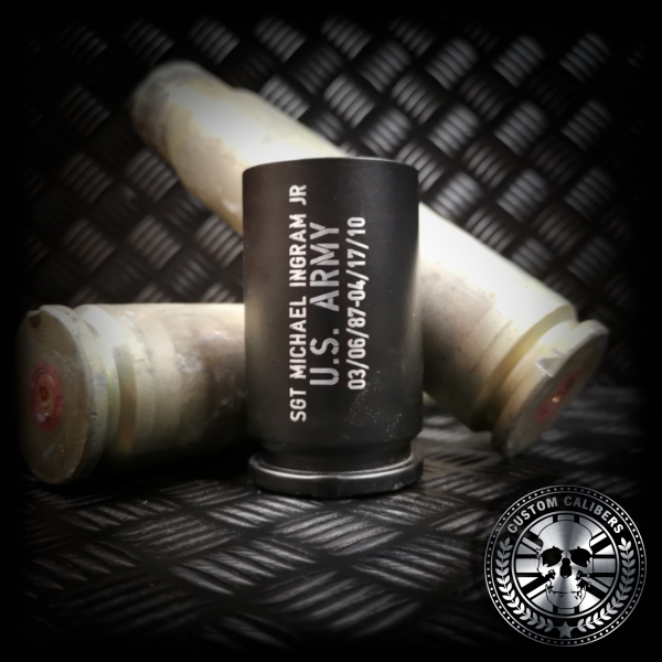 a nice shot of our matt black 30mm A10 warthog shot glass made from real fired rounds