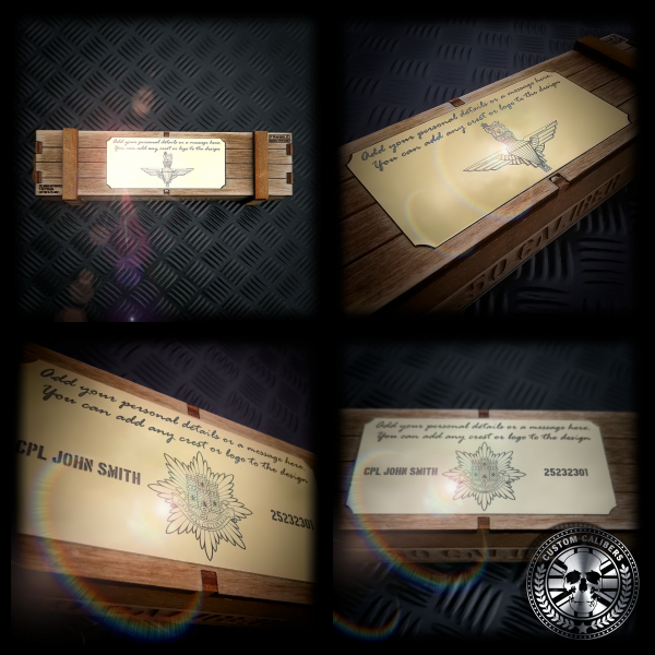 A collection of four photos showcasing some engraving examples of the new deluxe wooden ammo crate gift box available for the bullet pens and bullet bottle openers