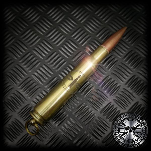Yet another perfect image of a 50 calibre key ring with the custom calibers emblem at the bottom right
