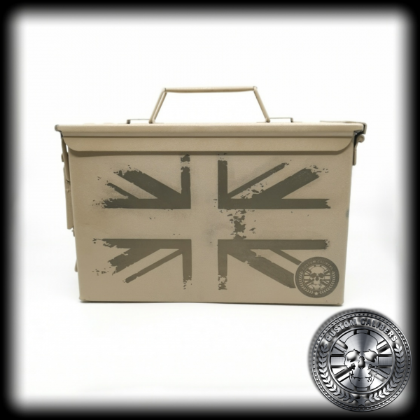 A full shot of a deset tan .50 cal ammo tin engraved with the union jack design
