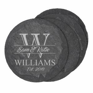 slate coaster round with logo engraved