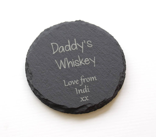 slate coaster round with text engraved