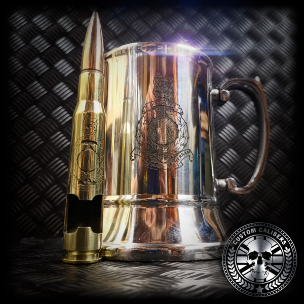 a great shot of an engraved steel tankard and matching brass 50 cal bullet bottle opener with royal marines crest