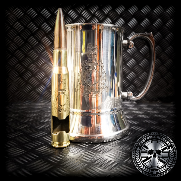 another great shot of an engraved steel tankard and matching brass 50 cal bullet bottle opener with royal marines crest