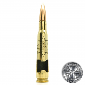 a polished brass .50 caliber bullet bottle opener deep etched with the royal anglian cap badge on