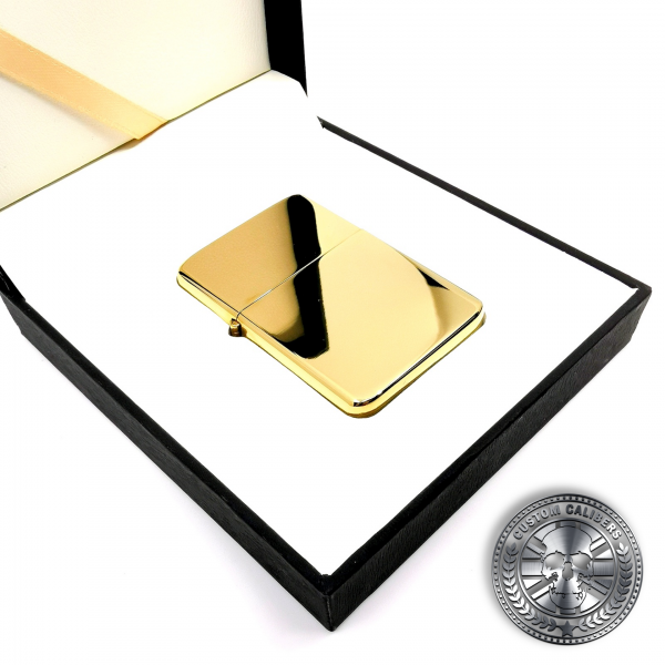a highly polished premium solid brass flip top oil lighter inside a luxury gift box