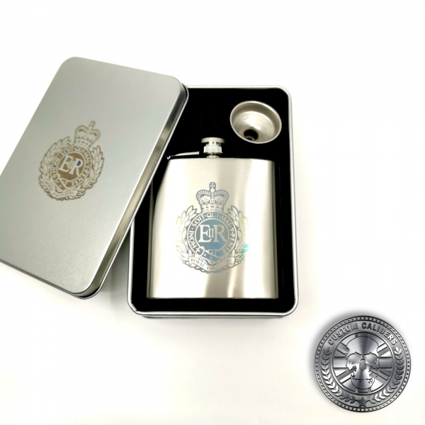 a brushed stainless steel hip flask gift set engraved with a military crest