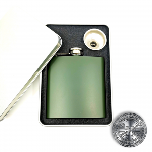 a nato green hip flask in a gift box
