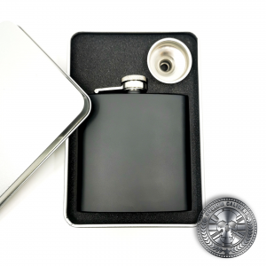 a matt black hip flask in a gift box