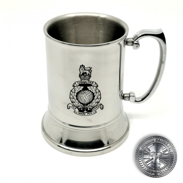 a traditional steel tankard deep etched engraved with royal marines crest
