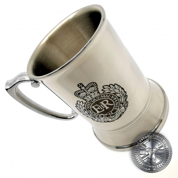 a traditional steel tankard deep etched engraved with royal engineers crest