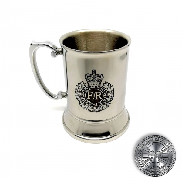 another photo of a traditional steel tankard deep etched engraved with royal engineers crest