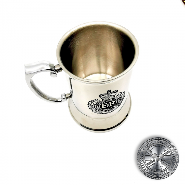 a great photo of a traditional steel tankard deep etched engraved with royal engineers crest