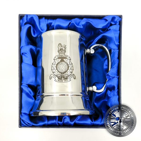 a traditional steel tankard deep etched engraved with royal marines crest presented in a silk lined gift box