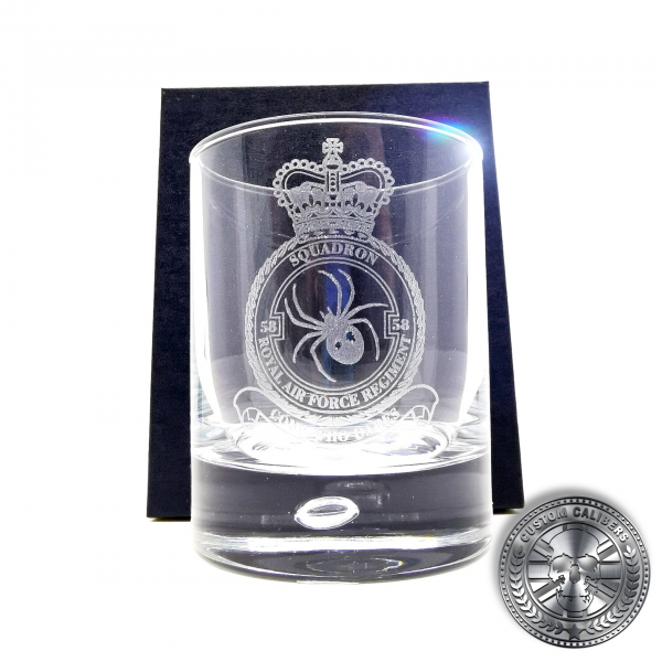 another laser etched whisky tumbler inside a silk lined gift box
