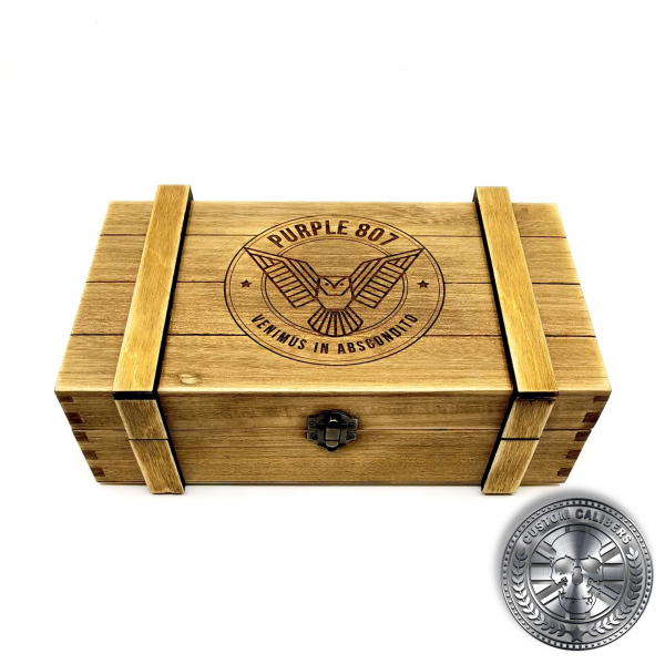 a wooden ammo crate style gift box with deep etched laser engraved logo