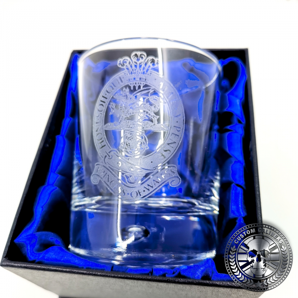 another great shot of a military laser etched whisky tumbler presented inside a silk lined gift box