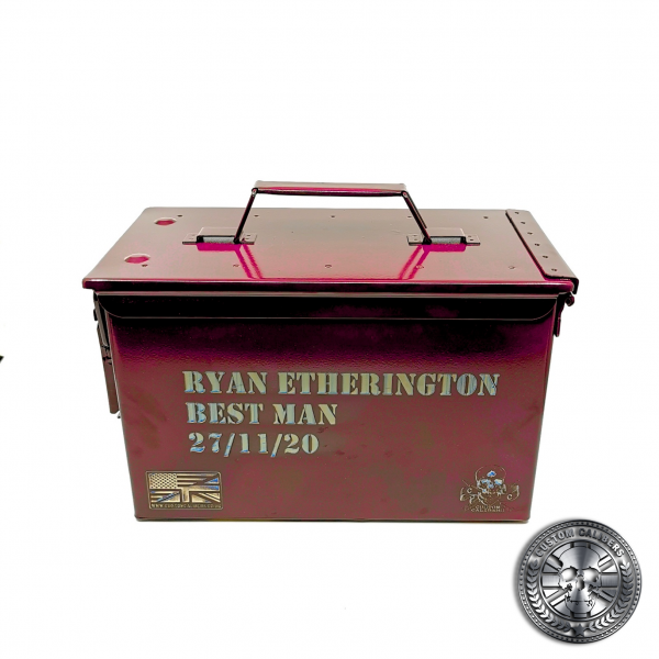 another photo of an engraved ammo tin powder coated in Airborne burgundy