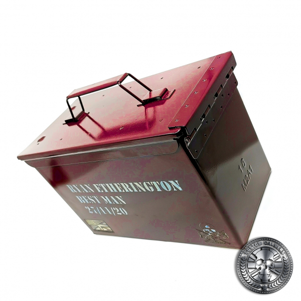 another great shot of an engraved ammo tin powder coated in Airborne burgundy