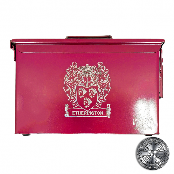 an engraved ammo tin powder coated in Airborne burgundy