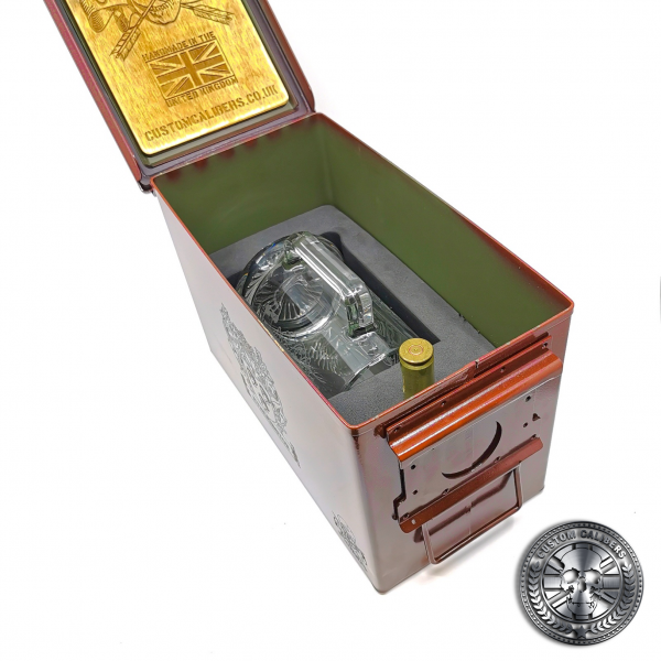the inside shot of the ammo tin beer gift set showing glass tankard and 50 cal bullet bottle opener