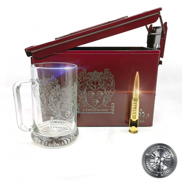 the ammo tin beer gift set in airborne burgundy