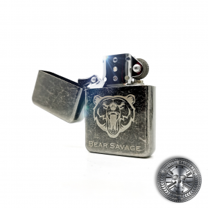 an antique effect steel flip top oil lighter with engraved logo laser engraved