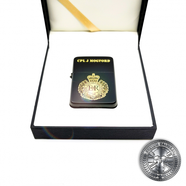 A high quality solid brass lighter in matt black displayed inside a luxuray hinged gift box