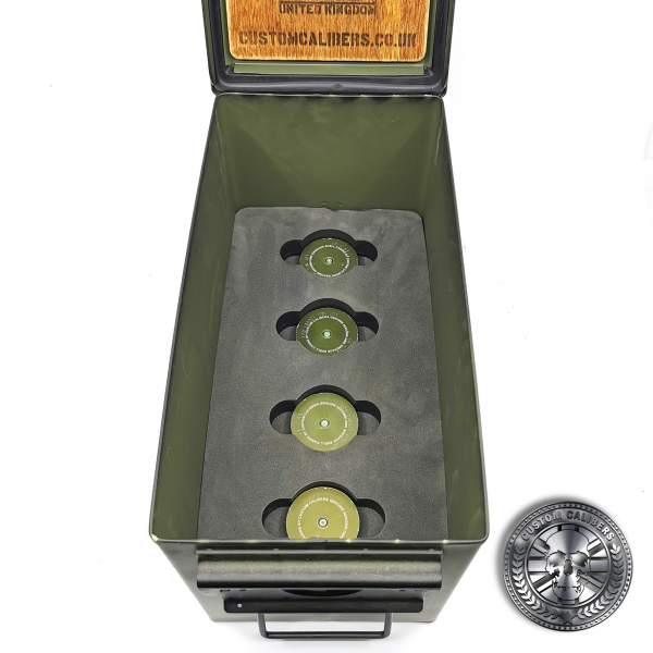 photo showing the inside of the Mk19 gmg grenade ammo gift set.